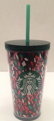 Starbucks Confetti Cold Cup 16oz Acrylic Tumbler With Straw Holiday 2019 New