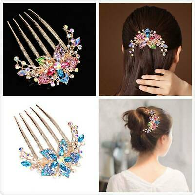 Charm Womens Rhinestone Inlaid Flower Hair Comb Hairpin Headwear Accessories*1