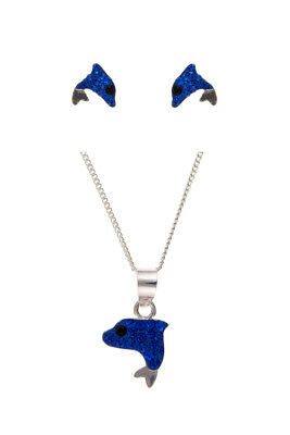 Silver Dolphin Set Blue Crystal 925 Hallmark Childrens Kids Jewellery