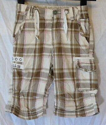 Girls H&M Beige Brown Pink Check 3/4 Length Cropped Capri Trousers Age 3-4 Years