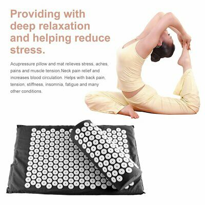 Acupressure Massage Mat with Pillow for Stress/Pain/Tension Relief Body GJ