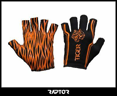Kids/Mini/Junior 3/4 Fingered Tiger Rugby Silicon Grip Gloves/Stick Mitts/Mits