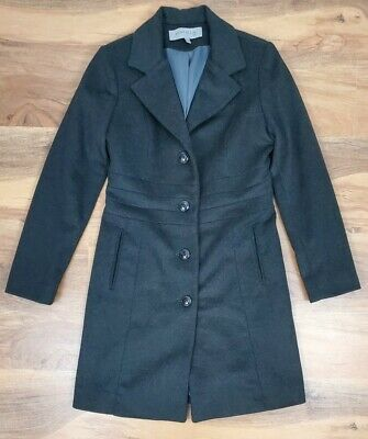 Womens Anne Klein Charcoal Grey Wool Cashmire Blend Lined Winter Coat Size Small
