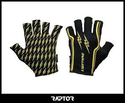 Kids/Mini/Junior 3/4 Fingered Lightning Rugby Silicon Grip Gloves/Stick Mitts
