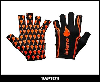 Kids/Mini/Junior 3/4 Fingered Inferno Rugby Silicon Grip Gloves/Stick Mitts