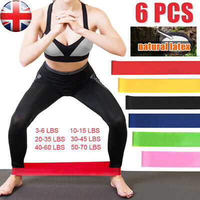 6-Level Resistance Exercise Loop Bands Home Gym Fitness Natural Latex set of 6