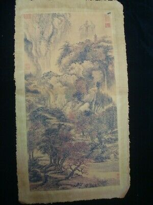 Fine Beautiful Large Old Chinese Paper Painting Landscape Marks