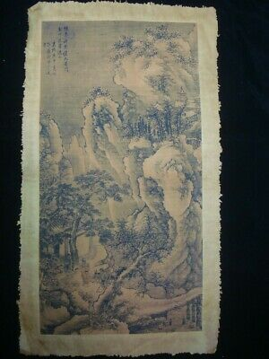 Old Large Chinese Paper Painting Beautiful Landscape and Figures Marks