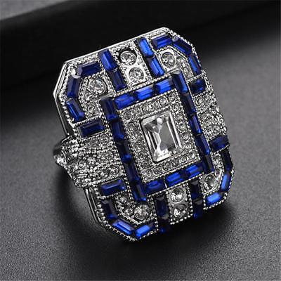 Women Square Cut Sapphire Blue Crystal Rings Wedding Ring High Quality Jewelry C
