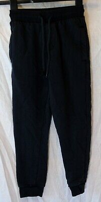 Boys Next Plain Black Drawstring Waist Cuffed Warm Joggers Age 7 Years