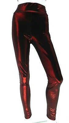 Red Black Metallic Sparkly Glitter Leggings M Goth Rock Festival Club Rave Party
