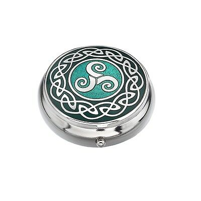 Pillbox Silver Plated Celtic Triskele Green Brand New and Boxed