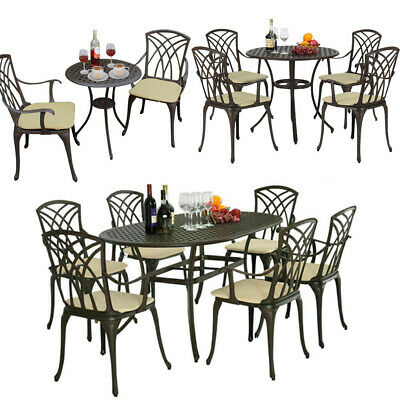 Garden Furniture Set Patio Cast Aluminium Table and Chairs Bistro Outdoors