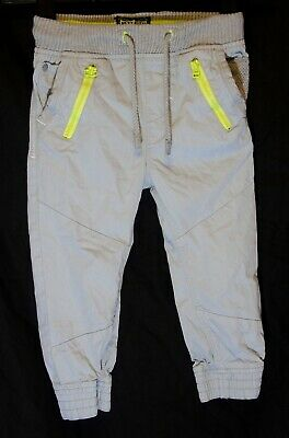 Boys Next Light Grey Neon Trim Cuffed Casual Ribbed Waist Trousers Age 4 Years