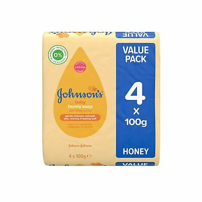 JOHNSON'S Baby Honey Soap 100g 4 pack – Ideal for Babies' Delicate Skin