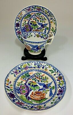 Antique Tea Cup & Two matching Saucers circa 1825