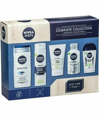 NIVEA MEN Five ( 5 ) Piece Complete Sensitive Skin Grooming Collection Gift Set