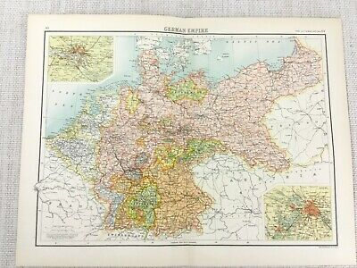 1898 Map of Germany German Empire Berlin Hamburg Bartholomew Antique Original