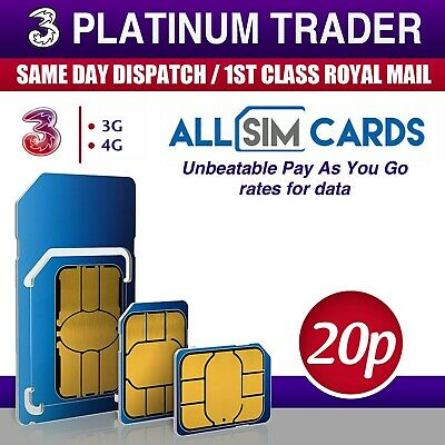 New & Sealed THREE Sim Card Pay As You Go / PAYG Trio Combi 3 Network 321 Plan