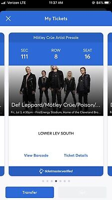 2 Tickets The Stadium Tour: Motley Crue, Def Leppard, Poison & Joan Jett 7/3/20
