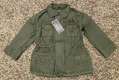 NEW Polo Ralph Lauren Toddler Girls Twill Military Jacket Green Sizes 2-2T 3-3T