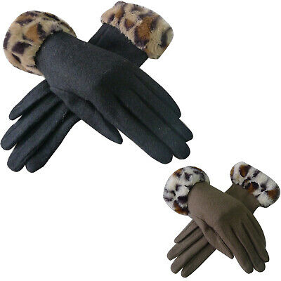 Quality Womens Winter Gloves Warm Wool Leopard Cuff in Gift Box