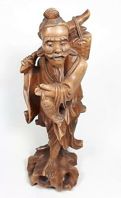Vintage/Antique Chinese Carved Wood Figure with Fish 30cm high (B1)