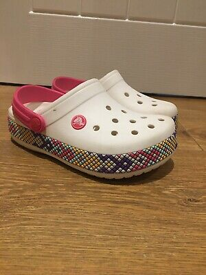 Girls Crocs Sandals Size J1 White Crocband Gallery Sandals Casual