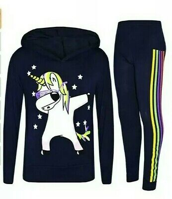+  Girls Kids Tracksuit Unicorn Print Joggers Hoodie Set  Age 9-10 Yr :5