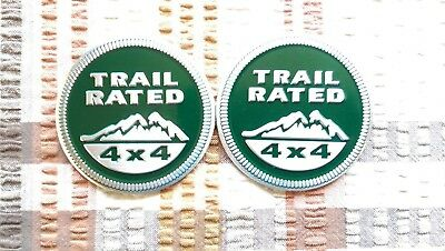 2 Green Trail Rated 4X4 Badges