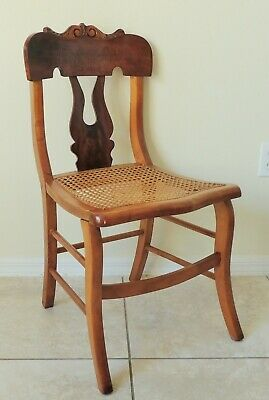 Antique/Vtg Carved Oak or Maple Wood & Cane Seat Side Chair Dining Desk Accent