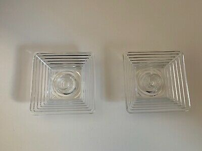 Pair Of Vintage Anchor-Hocking manhattan Crystal Candle Holders