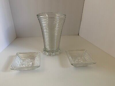 3 Piece Vintage Anchor Hocking Manhattan Crystal Vase and Candle Holders