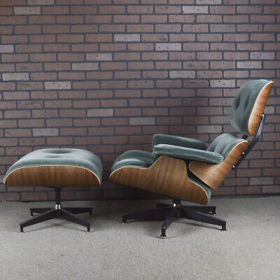 Eames Lounge Chair and Ottoman for Herman Miller Green Mohair & Walnut