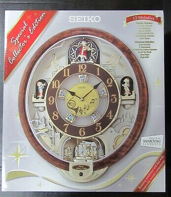 Brand New Seiko Qxm481Br 12 Melodies In Motino Wall Clock Swarovski Crystals