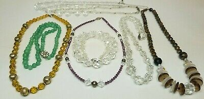 Antique Vintage ART DECO Faceted Crystal & Glass Bead Necklaces Czech Lot