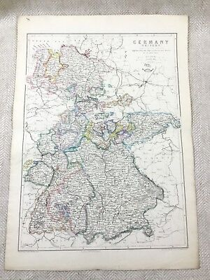Antique Map of Germany Old Hand Coloured 19th Century Original Western Europe