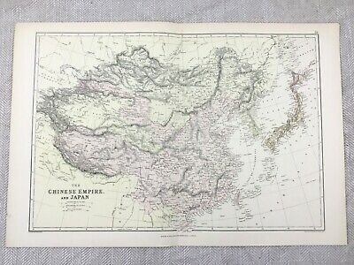 1882 Antique Map of Japan China The Chinese Empire Old Original 19th Century