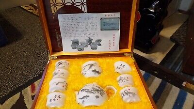 Chinese Fine Porcelain Koi Carp Tea Set In Luxury Wooden Lacquered Padded Chest