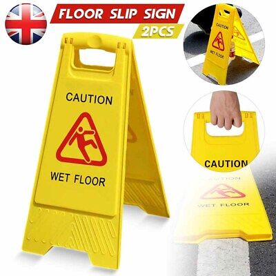 2x CAUTION WET FLOOR Sign Cleaning in Progress Yellow Warning Cone Hazard Safety
