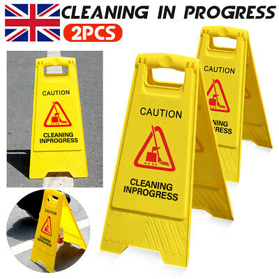 2× CAUTION Sign Cleaning in Progress Yellow Warning Cone Hazard Safety Wet Floor