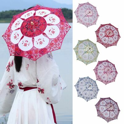 Cotton Lace Embroidered Parasol Umbrella Bridal Wedding Party Decoration Hono_