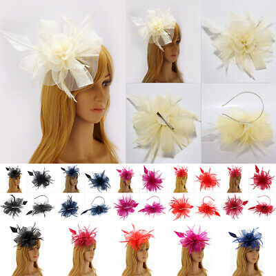 Flower Feather Corsage Hair Clip Fascinator Hairband Ladies Day Race Royal Ascot