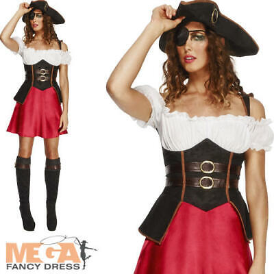 LADIES FEVER PIRATE FANCY DRESS COSTUME CARRIBEAN WENCH KIERA OUTFIT