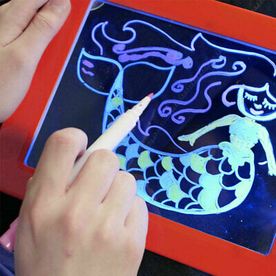 LED Magic Drawing Pad 3D Fun Educational Transparent w/Neon Pens Light Up Art