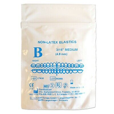 Orthodontic Elastic Bands ~ Latex Free 3/16 4.5oz ~ Brace Elastics Between Teeth