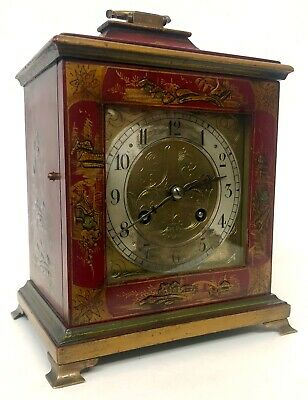 Red Chinoiserie Chiming Bracket Mantel Clock Hand Painted With Brass Dial