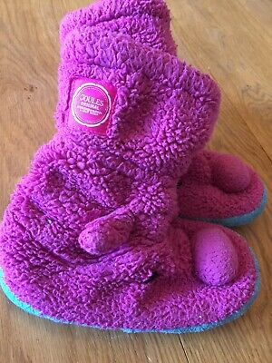 Junior Joules Pink Fluffy Slippers Slipper Boots Medium 11-13