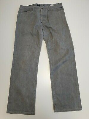 M526 Mens Calvin Klein Faded Grey Straight Leg Button Fly Denim Jeans W34 L31