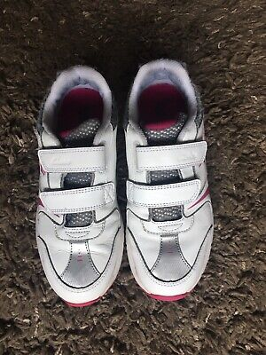 Clarks /'AIR COMPETE/' White Girls Leather Trainers Sizes 10-1.5 F/&G Widths BNIB